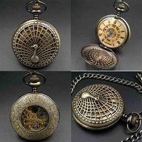 Wholesale Peacock Pocket Watch - Peacock screen Exhibition design bronze tone case Hand Winding up mechanical pocket watch 17 Crystals Movement Roman numerals
