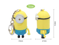 Wholesale Toys Outdoor Chain - Cartoon Key Chain Despicable Me 3D Eye Key Ring Small Minions Figure Kid Toy Keychain Outdoor Flashlight LED Sound for Children Toys