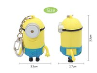 Cartoon Key Chain Despicable Me 3D Eye Porte-clés Small Minions Figure Kid Toy Keychain Outdoor Flashlight LED Son pour Jouets pour enfants