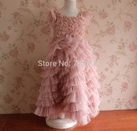 Wholesale Pink Rose Brand Dress - Children princess dresses girls lace fly sleeve Stereo Rose dress New Summer kids long party dress ball gowns wedding dress A7940