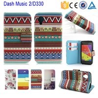 Wholesale Blu Dash Music - Free DHL Leather Flip Case with fashion for BLU Dash Music II 2 D330 line design stand phone case