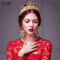 Wholesale Bridal Golden Crown - Baroque Bridal Wedding Jewelry Queen Crowns Tiaras Earring Set & Hair Accessories Golden Baroque Rhinestone Fashion New 2016 Luxury Headband