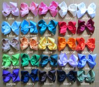 Wholesale Silk Hair Bows For Girls - 70 pcs lot 4 inch baby hairbows, baby hair bows, hair bows for baby, infant hair bows, girls hair bows, hairbows, 25 colors to choose