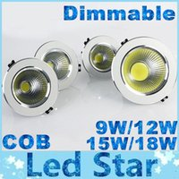 Wholesale Dimmable Cob Led Ceiling Light - Brand New COB Led Recessed Downlights Dimmable 9W 12W 15W 18W Led Ceiling Down Lights Warm Natrual Cold White AC 100-240V + CE ROHS UL CSA