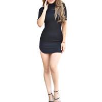 Wholesale Turtleneck T Shirts Short Sleeve - Summer Style 2015 Women T Shirt Dress Sexy Bandage Bodycon Turtleneck Short Sleeve Vestidos Mini Short Party Dresses Clubwear