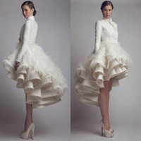 Wholesale Designer Dresses Feathers - Designer Krikor Jabotian High Low Wedding Dresses High Collar Ruffle Feather A Line Satin Long Sleeve Bridal Gowns Plus Size Wedding Gowns