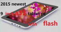 polegadas da câmera flash comprimidos venda por atacado-Núcleo do quadrilátero PC da tabuleta de 9 polegadas com flash 512MB / 8GB A33 Andriod 4,4 de Bluetooth 1.5Ghz