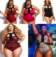 Wholesale Leopard Sexy One Piece - Hot Sexy Women One Piece Swimwear Plus Size Triangle Bathing Suit Leopard Printed Bandage Beach Swimsuit Top Quality