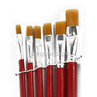 Wholesale Paintbrush Bristles - Wholesale-New 6 Pieces Paint Brushes Red Bristles Painting Brushes Paintbrush Artist Painting Tool Supplies BHU2