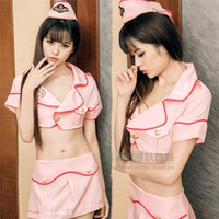 Wholesale Sexy Naked Lingerie - Sexy stewardess pink skirt suit temptation teddy lady clothing erotic cheonsam lingerie naked chastity sexy uniform vibrating thong lingere