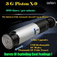 Wholesale Male Masturbation Realistic Vagina - LETEN Piston USB Charged Retractable Male Masturbator Automatic Sex Machine Hands Free Thrust Masturbation Sex Toy
