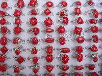 ingrosso anelli di pietre rosse naturali-Anello Quanlity Fashion Red Turquoise gemstone New Misto 60PCS Oversize Natural Stone Donna Anelli Charm