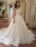 Wholesale Sexy Glamourous Wedding Dresses - Glamourous Lace Applique Capped Wedding Dresses Sweetheart Fitted Fall Sleeveless Sheer 2015 Bridal Dress Ball Gowns Court Train A-LIne