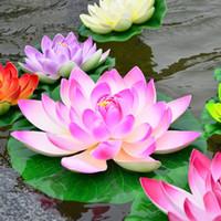 ingrosso serbatoio di loto-Real Wedding Decor Ems Nave Veloce 17 cm Diametro Simulazione Lotus Pu Fiore Artificiale Galleggiante Acqua Giardino di Casa Decorazione Serbatoio di Pesce