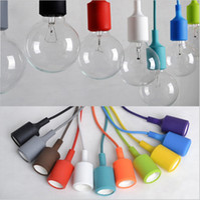 Wholesale Remote Control Lamp Holder - 2016 New arrival Colorful LED Pendant Lights 80CM Wire E27 E26 110V 220V Silicone Pendant Light Sconce Lamp Socket Holder Without Bulb vinta