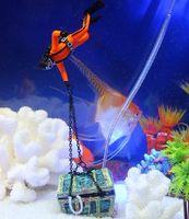 Wholesale Aquarium Decorations Free Shipping - 1 pc Creative Treasure Hunter Diver Action Figure Fish Tank Ornament Aquarium Decoration Landscape Free Shipping