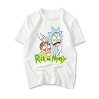 Wholesale boy high neck shirts - rick and morty t shirt men casual loose young boys cotton short sleeves tees tops high quality hip hop street shirts