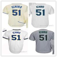 06ba0a1daec Men's Jersey #51 Ichiro Suzuki White Throwback Jerseys Authentic Baseball  Shirt Blue White Green Gray Size S-6XL ...
