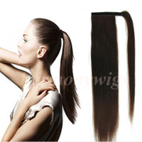 Wholesale Black Ponytail Extension Straight - Top Quality 100% Human Hair Ponytails detangle hair 20 22inch 100g #1 Jet Black Straight Brazilian Indian Hair Extensions more colors