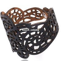Wholesale Wholesale Vintage Wide Cuff Bracelets - 4 colors Wide hollow Bracelets for women Vintage Cuff Adjsutable Faux leather fashion Bracelets & Bangle jewelry lady Valentine's Day Gifts