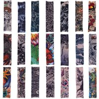 tattoo arm ärmel groihandel-Kompressionshülse Tattoo Like Print Ärmel SPORTS Ärmel ARM WÄRME DIGITAL TATTOO DRUCK IN VERSCHIEDENEN FARBEN Bike Seamless Riding Sleeve