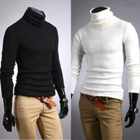 многоцветный дизайн свитера оптовых-Wholesale-New Men Winter Warm Turtleneck Pullovers Fashion Thermal Sweater Multi color option  sweater Solid design Soft Tops