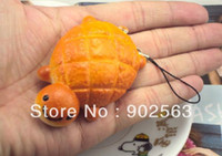 Wholesale Bun Chain - Wholesale-2015 new japan cute kawaii key chain strap 5cm PU breadou fruit pineapple squishy turtle buns soft toy with tag freeshipping