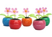 Wholesale Solar Power Flower Pot - T-Best free shipping In DHgate promotion Solar Powered Dancing Sunflower Flip Flap Toy Flower Bug Bobble Plant Pot Swing