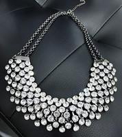 multi kettenglied halskette großhandel-Collier Femme Trendy Kristall Erklärung Halsketten Anhänger Frauen Edlen Schmuck Multi layer Gliederkette Halskette Bijoux Colares