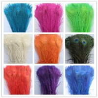 """Wholesale 25 Peacock Feathers - White Peacock Tail Feathers 100pcs lot Bulk Peacock Feathers 10-12""""(25-30cm) Peacock Feathers Plume"""