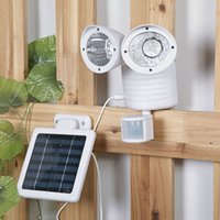 luz de paisaje led recargable al por mayor-22 LED de pared Montado focos Paisaje Solar PIR Motion Sensor de luz al aire libre recargable jardín Lámpara de pared Luces de Emergencia Doble Cabeza