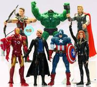 figuren rächer schwarze witwe großhandel-Freies Verschiffen, The Avengers Set von 7 14cm Film Action-Figuren Spielzeug 15 cm Black Widow Hawkeye Nick Fury PVC-Figur Spielzeug beste Geschenke