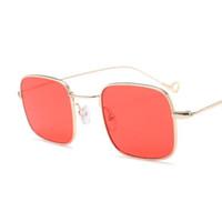 Wholesale Red Transparent Film - Antique metal small frame square Sunglasses Women's transparent film square sunglasses Fashion Trend transparent glasses Men Brand tide glas