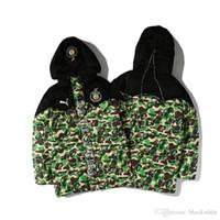 vestes à capuche de baseball achat en gros de-Hommes cardigan chaud veste en coton matelassé Tops Camouflage Hommes Hoodies chauds Automne Hiver épais coton Baseball Cothes Tailles M-3XL