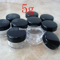 Wholesale Small Plastic Bottles Lids - Free shipping ,100pc lot 5g,5ml black lid round small plastic bottle jars containers with lids for cosmetic packaging,cream jar