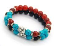 Wholesale Men Ring Design Stone - Wholesale New Design Men or Women 8mm Beaded Natural Agate Stone Beads Buddha Meditation bracelet