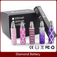 Wholesale Diamond Crystal E Cig - 2016 Luxury Nice Crystal diamond EGO ego battery assorted color e Cigarette battery for starter kit E cig 650mah 900 1100mah diamond battery