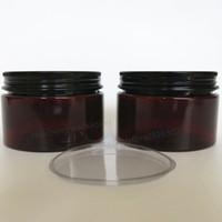 Wholesale wholesale 4oz glass bottles - 20 x 120g Amber PET Cream Jar 4oz Cream Bottle with black aluminum lids and Inner Pad