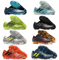Wholesale Mens Low Ankle Shoes - 2018 New arrival mens Nemeziz 17 soccer shoes low ankle nemeziz 360 Agility FG football boots Laceless original white soccer cleats 2017