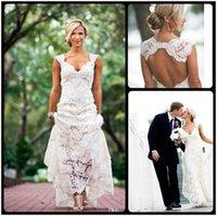Wholesale Vintage Wedding Dresses Drop Ship - 2015 Lace Wedding Dresses Party Free Shipping Sleeveless Keyhole Back V Neck A Line Ivory Elegant Custom Made Bridal Gowns 2016