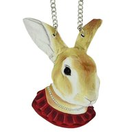 Wholesale Rabbit Jewellery - Rabbit Pendant Wood Ethnic Style Hip Hop Style Choker Necklace Women Jewellery From India New Coming