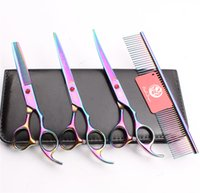 Wholesale pet grooming scissors kit for sale - Group buy 4Pcs Suit quot JP C Purple Dragon Professional Pets Grooming Hair Scissors Comb Cutting Shears Thinning Scissor UP Curved Shears Z3003