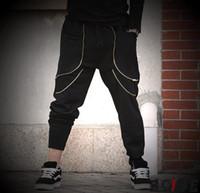 calça de moletom folgado do hip-hop preto venda por atacado-Atacado-folgado plus size Men harem Calças esporte ao ar livre hip-hop treino de algodão Sweatpants tático jogger Calças Pantalones preto hba