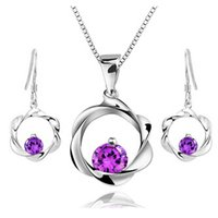 Wholesale 925 Silver Plum Blossom - 100% 925 Silver Jewelry Sets Sterling Silver Jewelry set for Women Plum Blossom Set Free Shipping