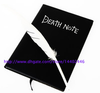 Wholesale Japan Anime Cosplay - 100pcs lot Japan Anime Death Note Fashion Cosplay Notebook Wholesale , Feather Pen Writing Journal Anime Theme Diary Record Free shipping