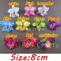 orchid clips wholesale NZ - Wholesale-Free shipping Mix 10 colors Silk Thailand Orchid flower head   8 cm Artificial Silk flowers phalaenopsis headwear without clip