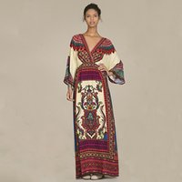 Wholesale Dolman Batwing - 2016 New Autumn Style Vintage Long Sleeve Maxi Dress Sexy Boho V Neck Long Beach Dress