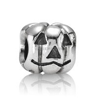 Wholesale European Beads Custom - Nice Pumpkin Shape 925 Sterling Silver European Screw Bead Charms Custom Halloween Jewelry For Snake pandora Bracelet Chain Wholesale