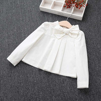 Wholesale Shirt Long Dress Girl - Girl Dress Cotton Shirts Children Clothes Kids Clothing 2016 Ruffle Long Sleeve T Shirts Girls Tops Blouses White Shirt Kids Tshirt C20301