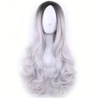 pelucas grises para mujeres negras al por mayor-Larga Barato Cospaly peluca Harajuku Lolita peluca negro Ombre cuerpo gris onda sintética mezcla de colores pelucas para las mujeres peluca sintética